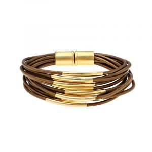 Gold Multi Cord Bracelet With Magnet - Brown