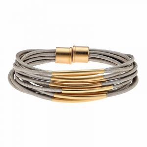 Gold Multi Cord Bracelet With Magnet - Grey