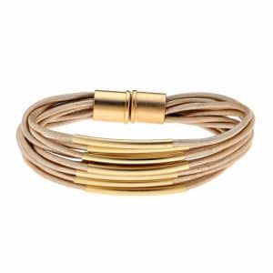 Gold Multi Cord Bracelet With Magnet - Toffee