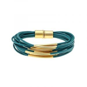 Gold Multi Cord Bracelet With Magnet - Turquoise