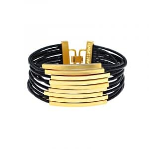 Gold Multi Cord Leather Bracelet - Black