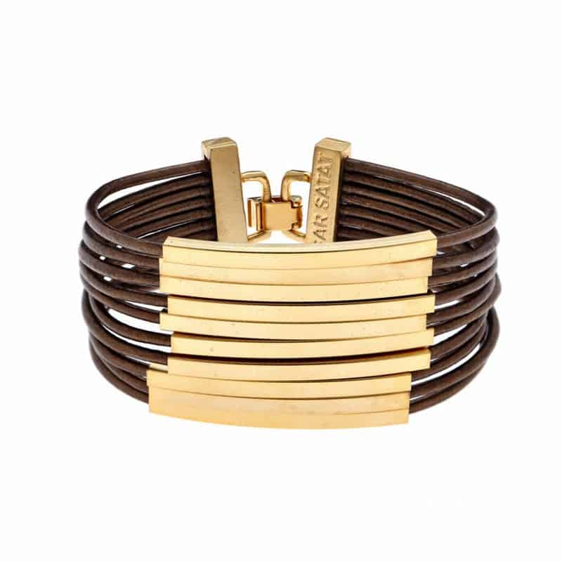 Gold Multi Cord Leather Bracelet - Brown