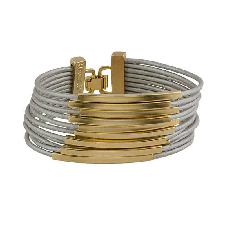 Gold Multi Cord Leather Bracelet - Grey