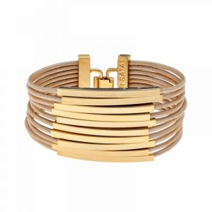 Gold Multi Cord Leather Bracelet - Toffee