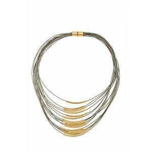 Gold Multi Cord Leather Necklace - Grey