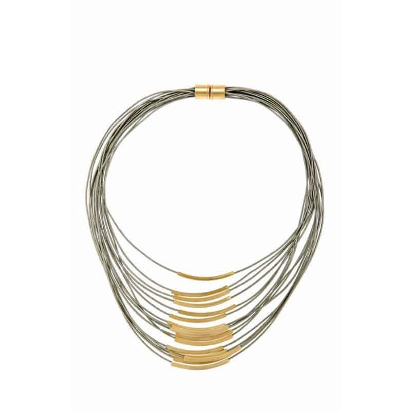 Collar de Cuero de Múltiples Cordones Dorado - Gris