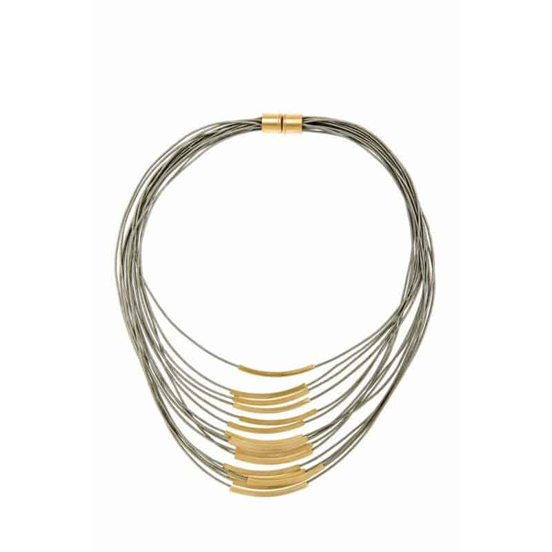 Gold Multi Cord Leather Necklace - Red