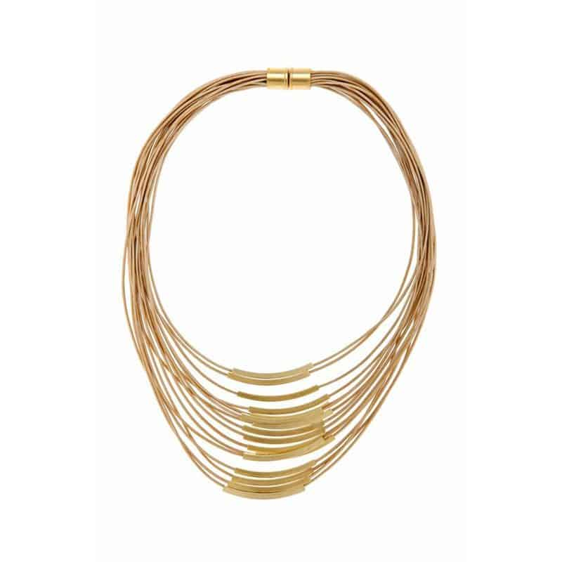 Gold Multi Cord Leather Necklace - Toffee