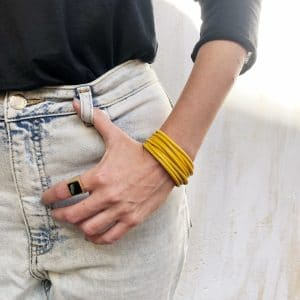 Gold Snake Belt Bracelet - Yellow