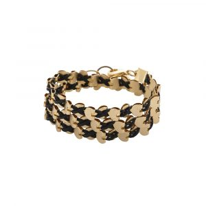 Gold Wrap Hearts Necklace/Bracelet - Black
