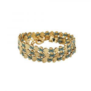 Gold Wrap Hearts Necklace/Bracelet - Turquoise