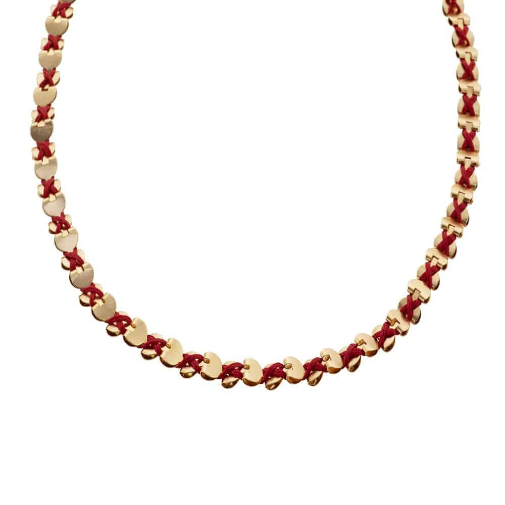Gold Wrap Hearts Necklace/Bracelet - Red