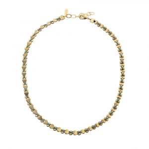 Gold Wrap Hearts Necklace/Bracelet - Green