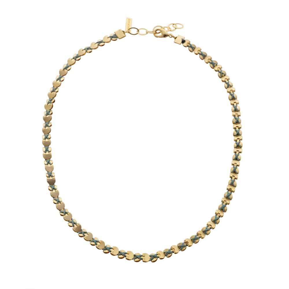 Collar / Pulsera Dorado Envuelto de Corazones - Turquesa