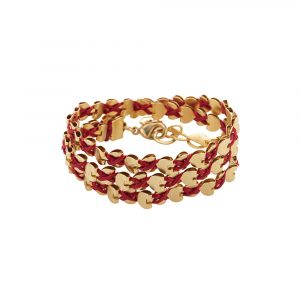 Gold Wrap Hearts Necklace/Bracelet - Red