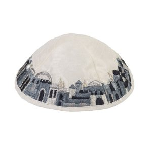 Jerusalem View Embroidered Kippah - Black and White