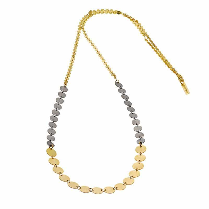 Long Button Chain Necklace - Gold