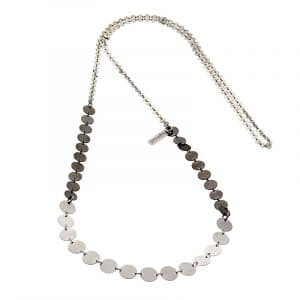 Long Button Chain Necklace - Silver