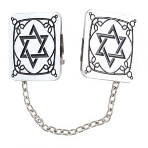 Nickel Tallit Clips - Star of David with Chain