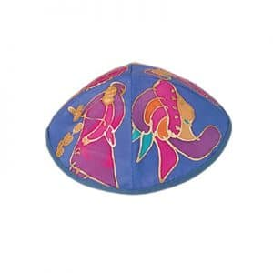 Painted Silk Kippah - Figures Blue