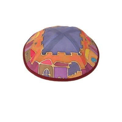 Painted Silk Kippah - Jerusalem Color A
