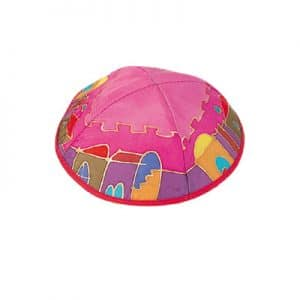 Painted Silk Kippah - Jerusalem Pink