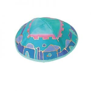 Painted Silk Kippah - Jerusalem Turquoise/Blue