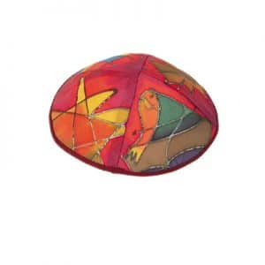 Painted Silk Kippah - Tribes Red