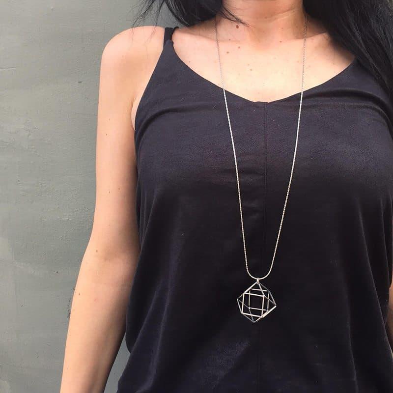 Polygon Necklace- Silver