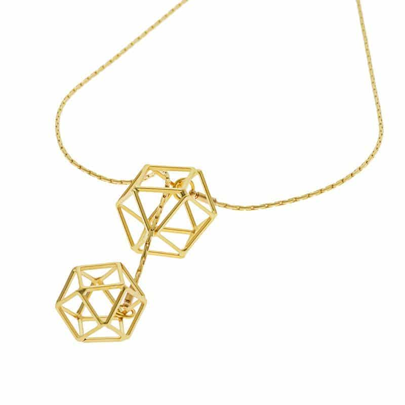Polygon Scarf Necklace - Gold