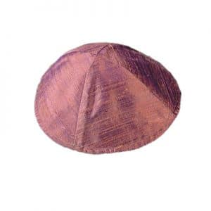 Raw Silk Kippah - Maroon