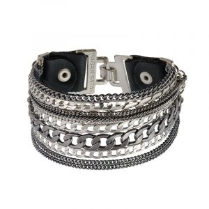 Pulsera de Cuero Rock and Roll - Plata