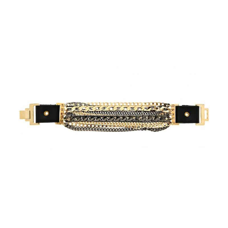 Rock and Roll leather bracelet - gold