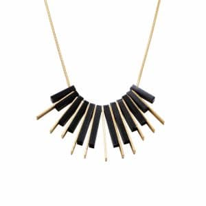 Short Gold Sunrise Necklace - Black