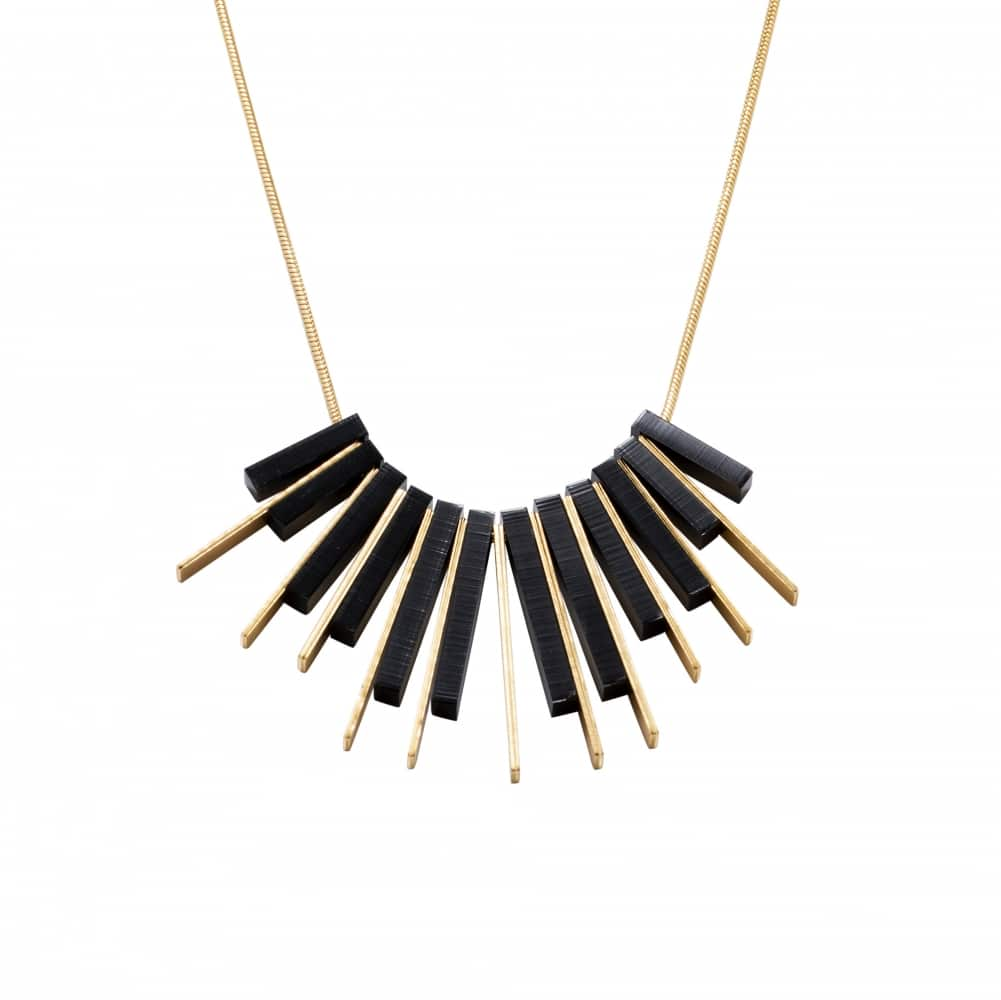 Collar Corto Dorado Sunrise - Negro