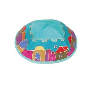 Silk Kippah - Jerusalem Turquoise/Color