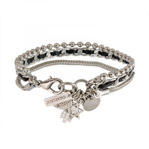 Silver Charms Bracelet - Black