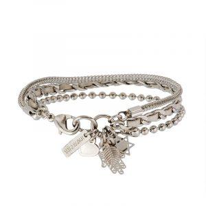 Silver Charms Bracelet - Grey