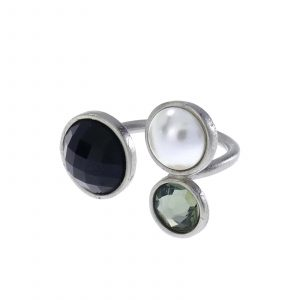 Silver Galaxy Ring - Black