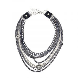 Silver Multi Chain Charm Necklace
