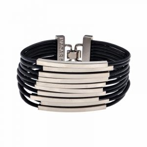 Silver Multi Cord Leather Bracelet - Black