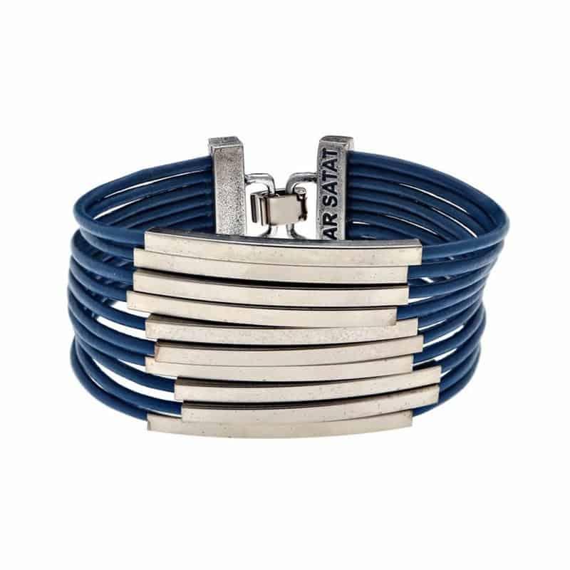 Pulsera de Cuero Multicapa Plateada - Azul