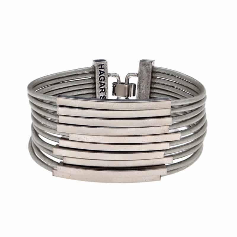 Silver Multi Cord Leather Bracelet - Grey