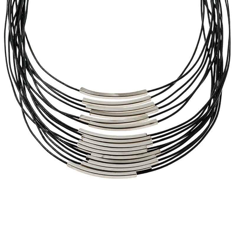 Silver Multi Cord Leather Necklace - Black