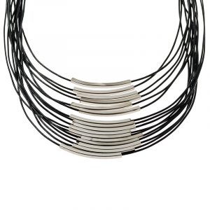 Silver Multi Cord Leather Necklace - Black