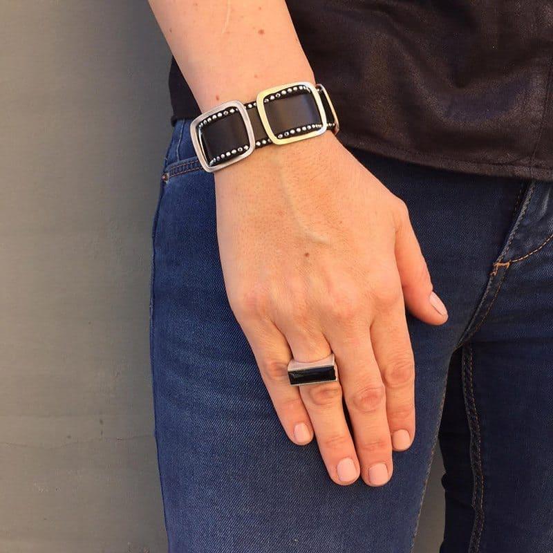 Silver Power Ring - Black