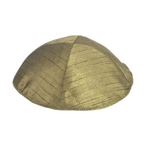 Velvet Embroidered Kippah -Jerusalem Gold
