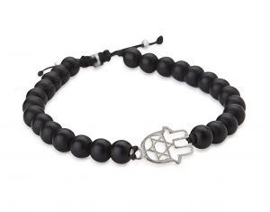 Black stones and hamsa bracelet
