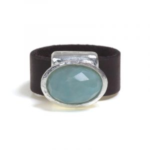 Oval ring in Amazonite stone inlay