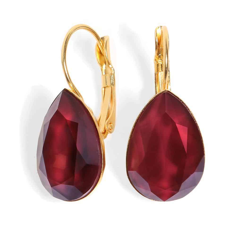 Date Night Earrings - Crimson Drop Crystal